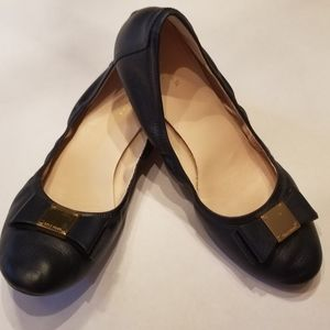 Cole Haan Navy Tali Bow Ballet Flats, 8W (womens)